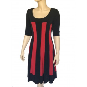 Connected Black and Red Fit and Flare Short Sleeve Dress