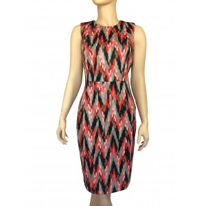 Red and Gray Zigzag Sheath Dress
